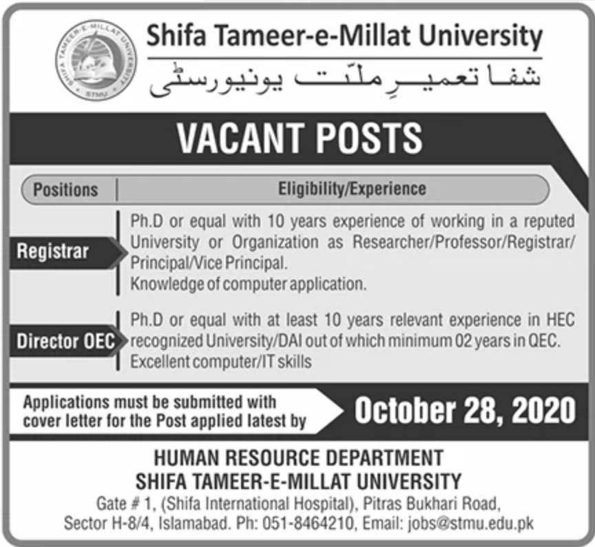 Shifa Tameer e Millat University Islamabad Jobs October 2020