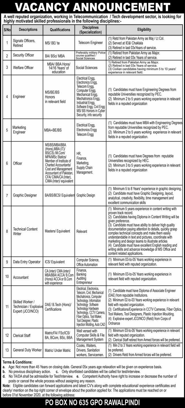 Telecommunication Sector P.O.Box 635 Rawalpindi Jobs October 2020