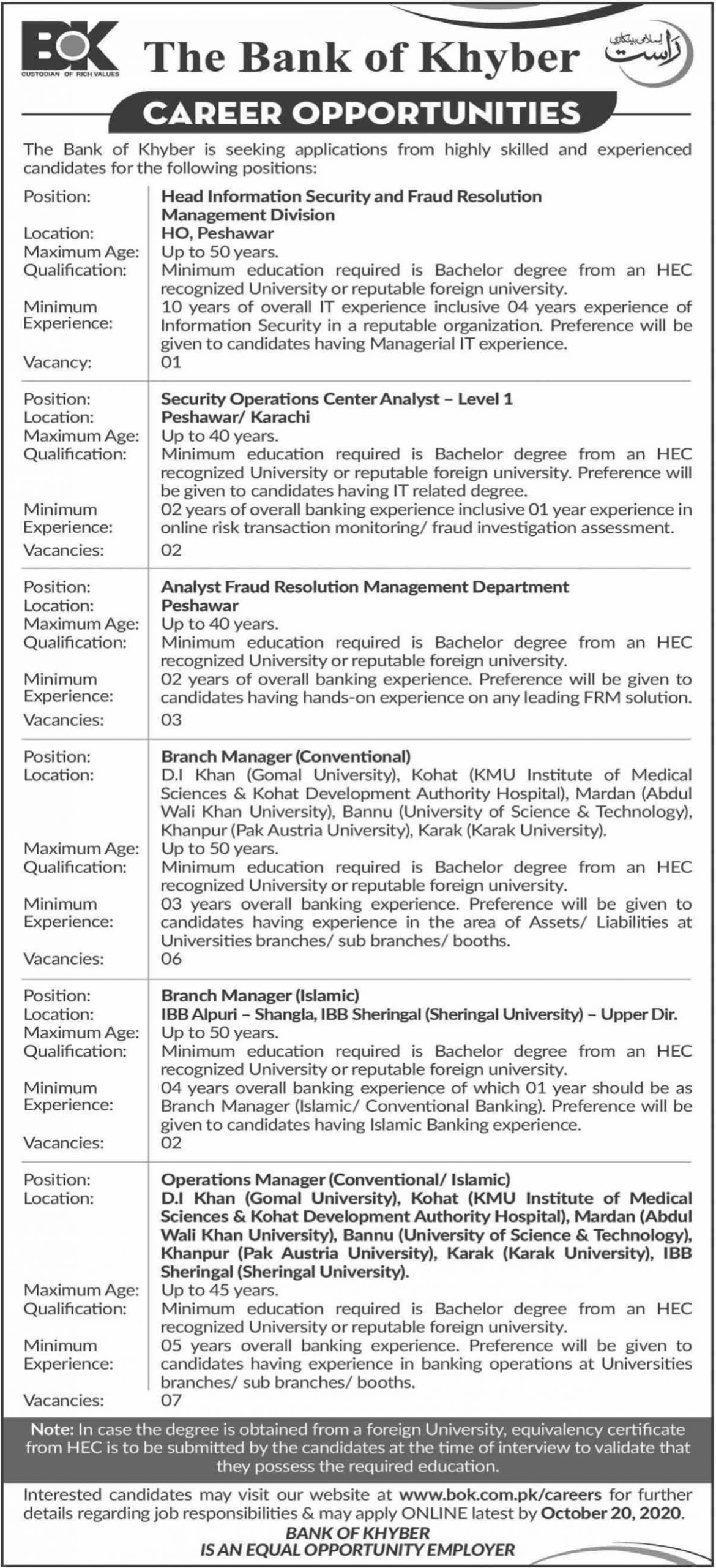 The Bank of Khyber BOK Jobs October 2020