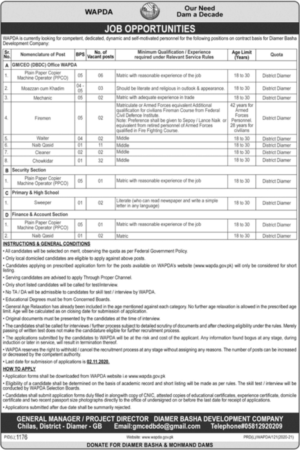 Wapda Jobs 2020 Diamer Basha Development Company