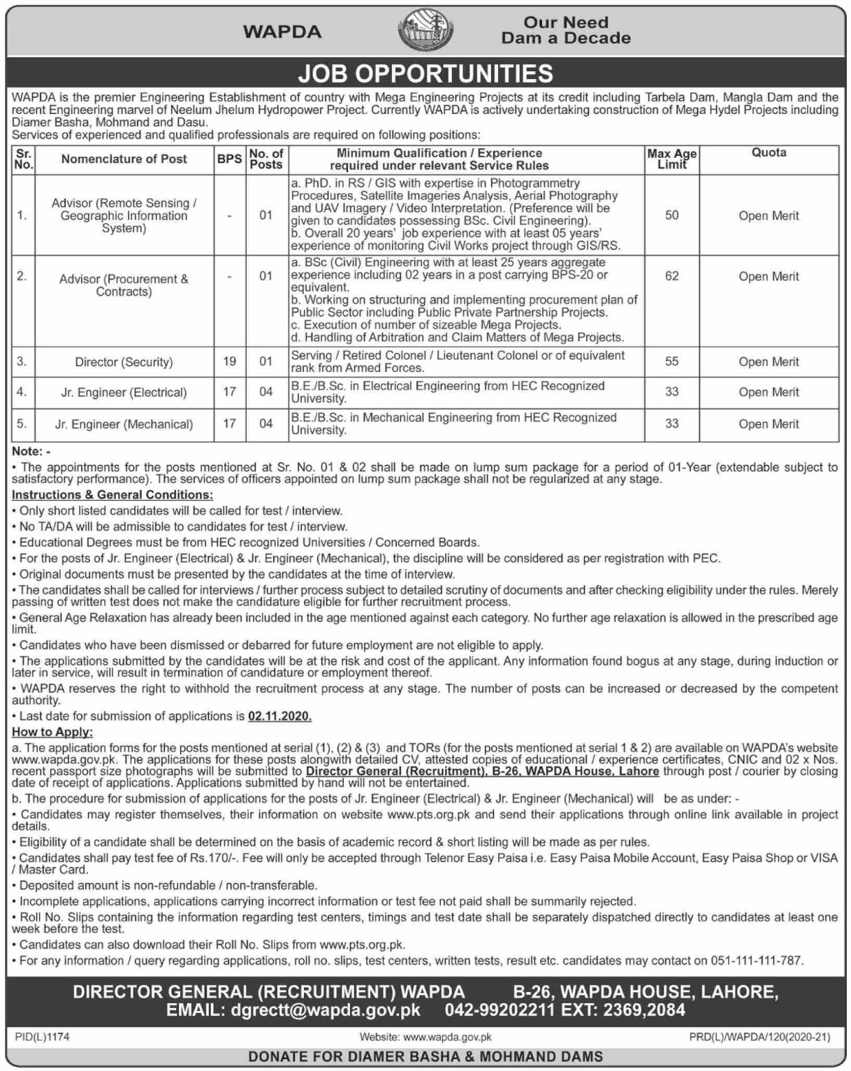 Wapda Lahore Jobs October 2020