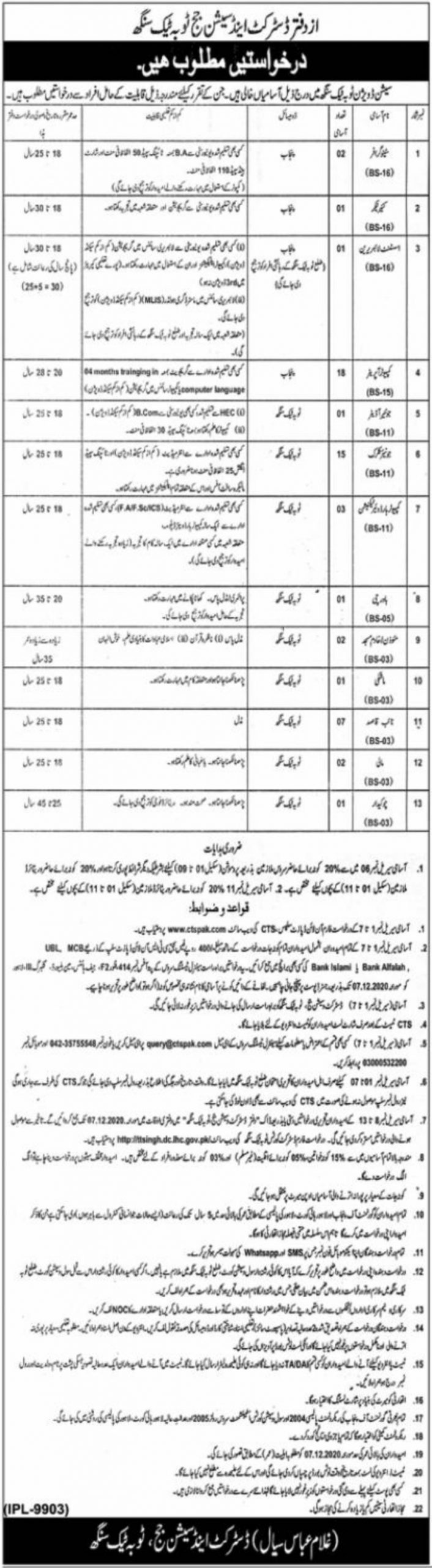 District & Session Court T.T. Singh Jobs November 2020