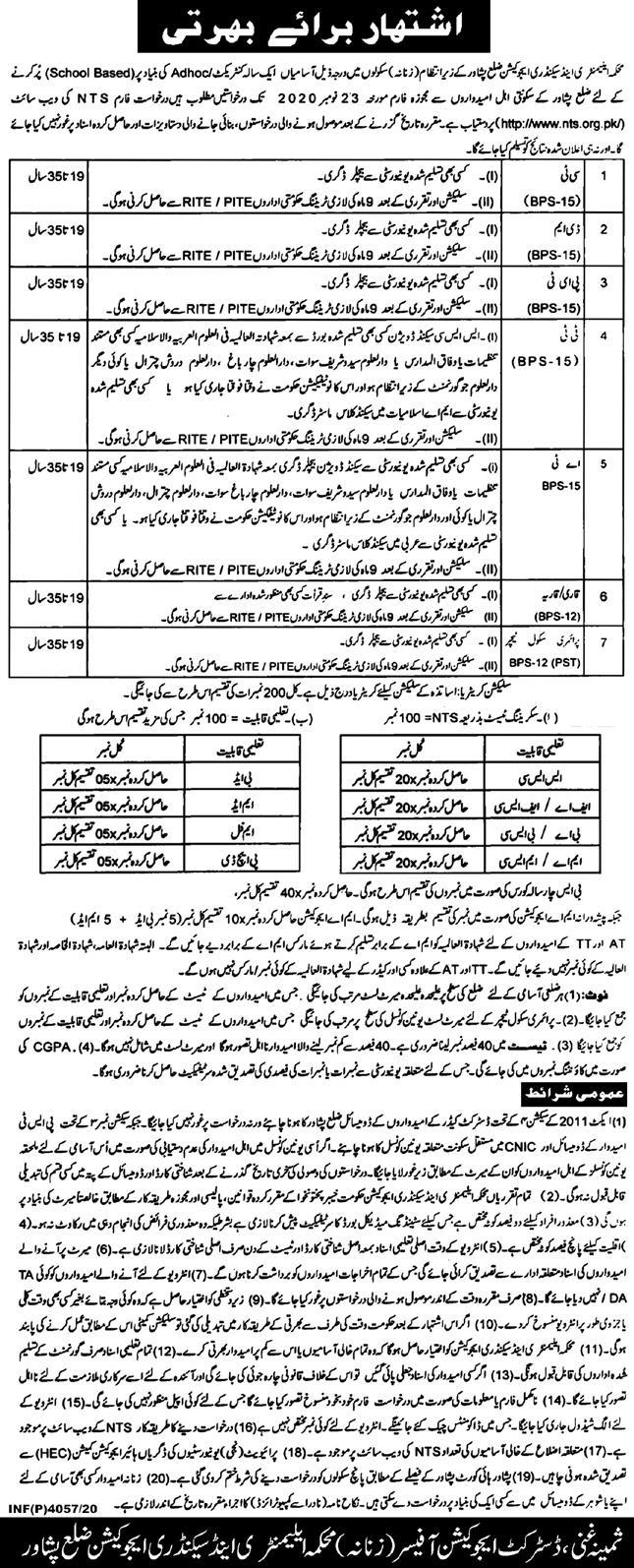 ESED Peshawar Jobs November 2020 via NTS