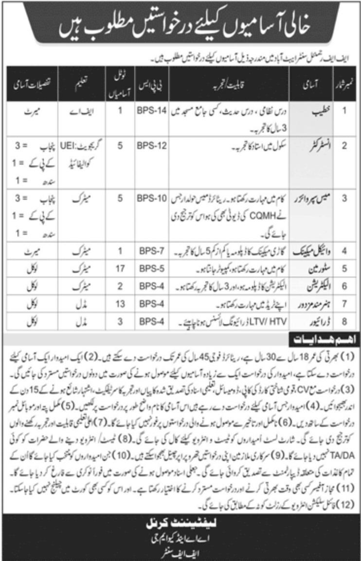 FF Regimental Center Abbottabad Jobs November 2020