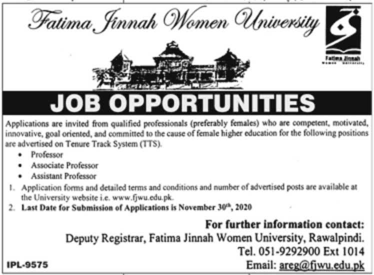 Fatima Jinnah Women University FJMU Jobs November 2020
