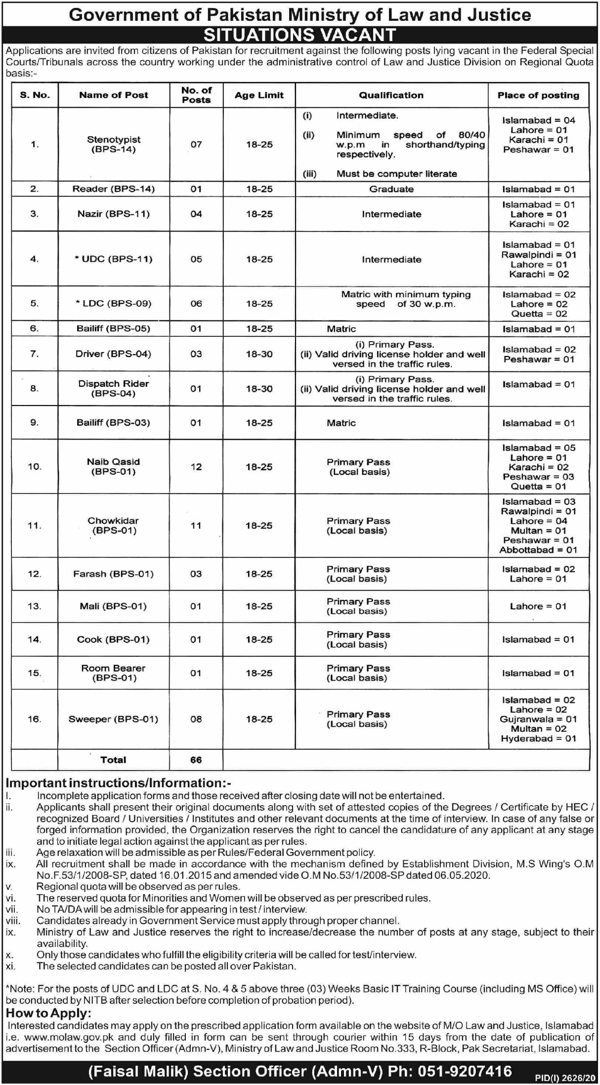 Ministry of Law & Justice Jobs November 2020