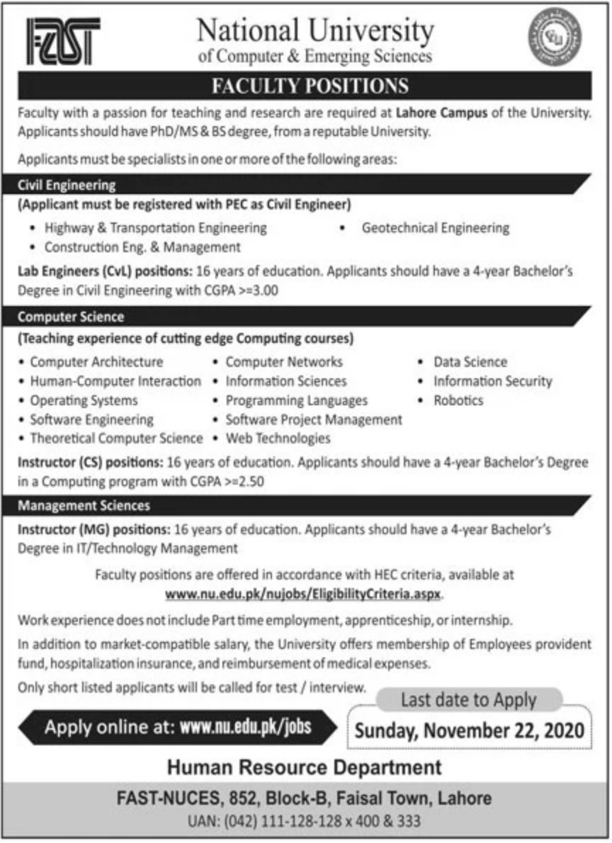 National University of Computer & Emerging Sciences Jobs November 2020