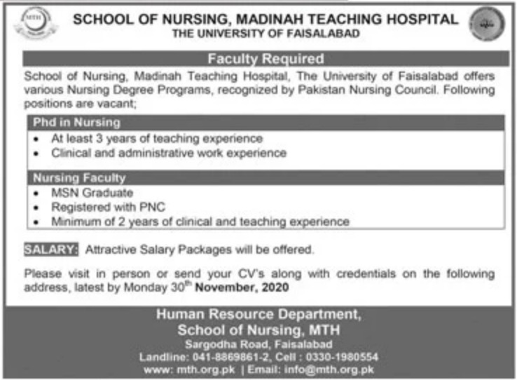 School of Nursing Madinah Teaching Hospital Faisalabad Jobs November 2020