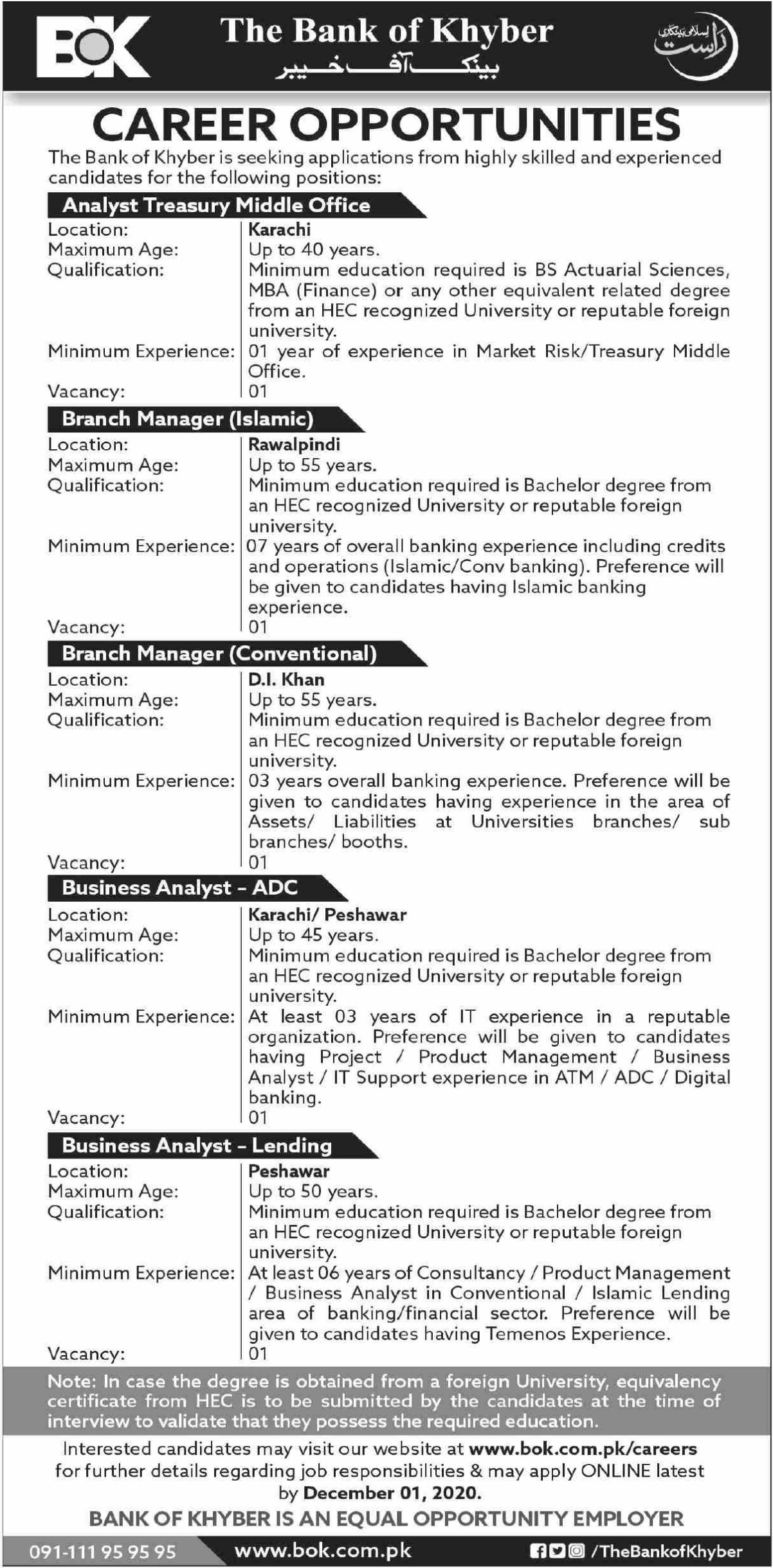 The Bank of Khyber Jobs November 2020
