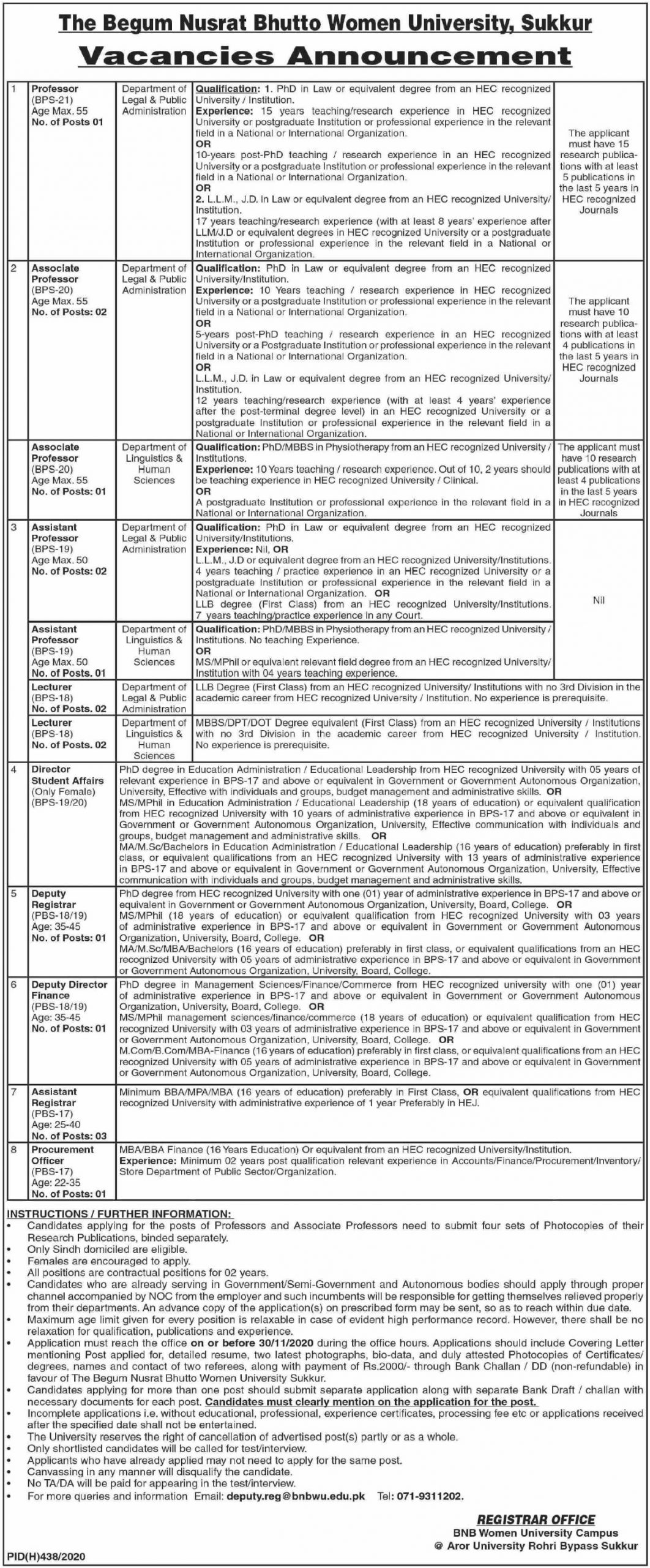 The Begum Nusrat Bhutto Women University Sukkur Jobs November 2020