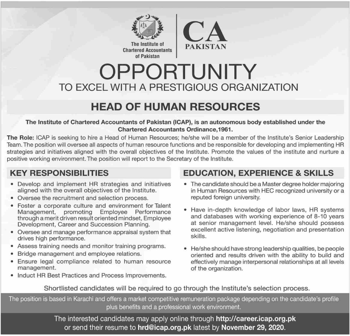 The Institute of Chartered Accountants of Pakistan ICAP Jobs November 2020