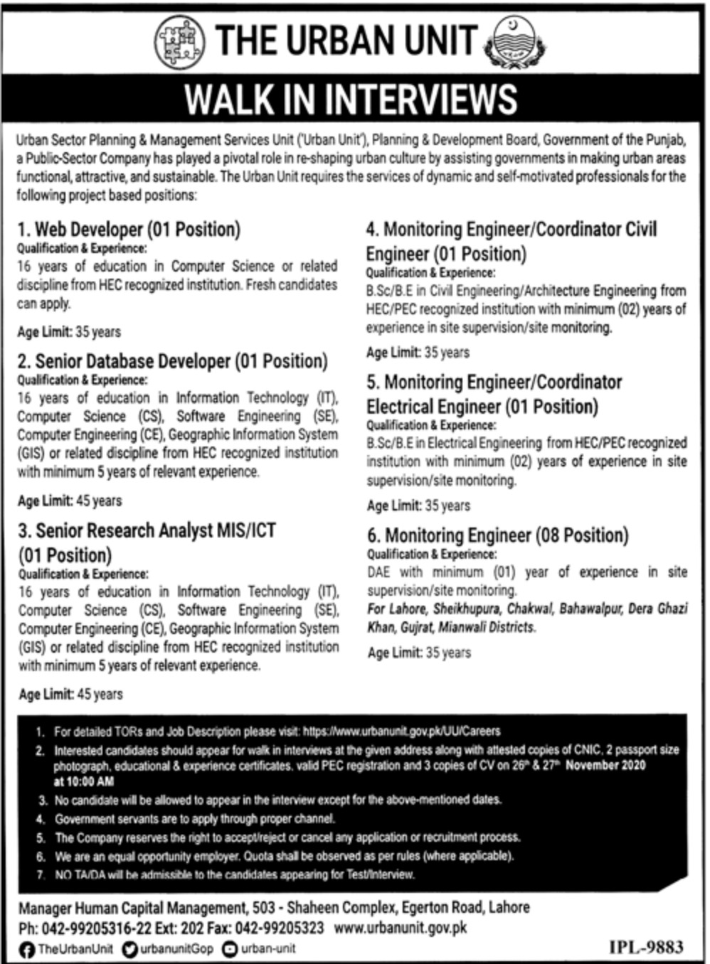 The Urban Unit Government of Punjab Jobs November 2020 Latest