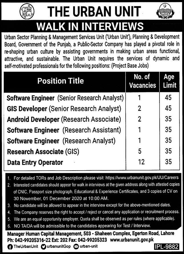 The Urban Unit Government of Punjab Jobs November 2020