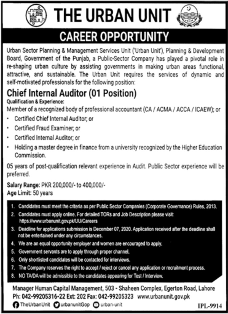 The Urban Unit Lahore Jobs November 2020
