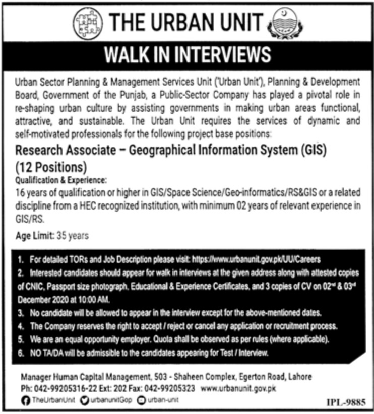 The Urban Unit Punjab Jobs November 2020