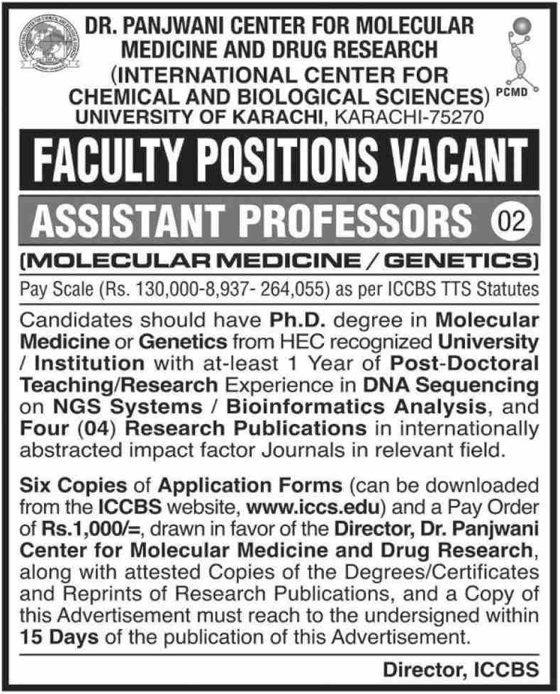 University of Karachi Faculty Jobs November 2020