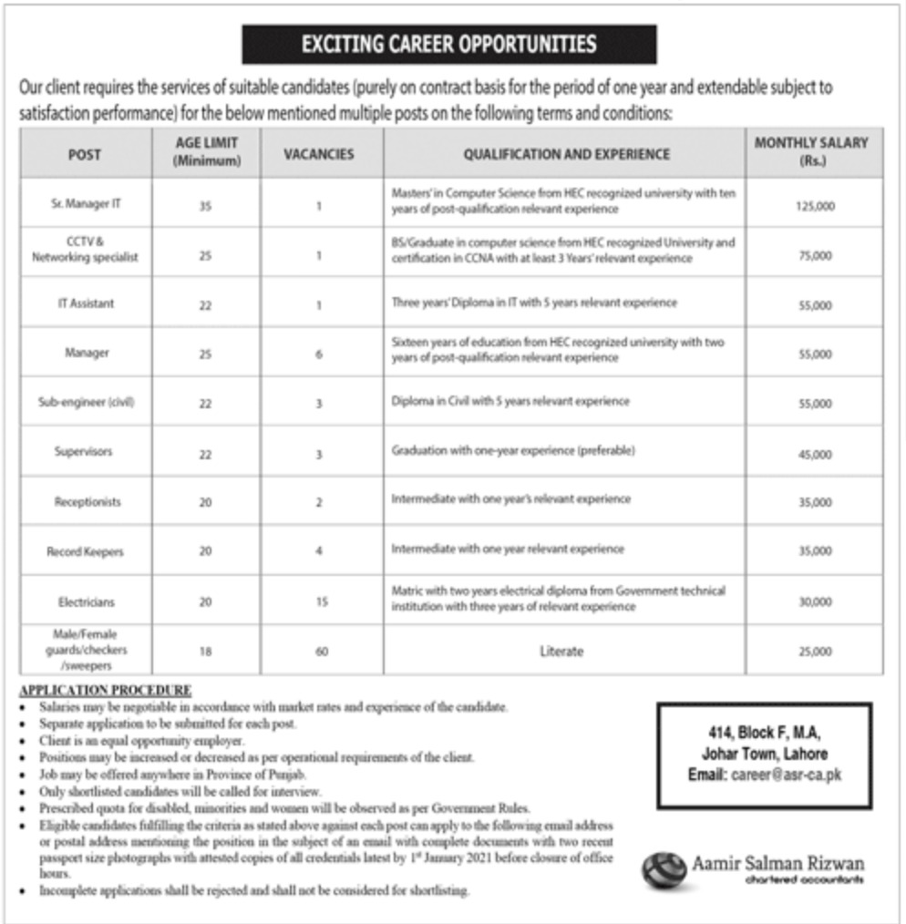 Aamir Salman Rizwan Chartered Accountants Lahore Jobs December 2020