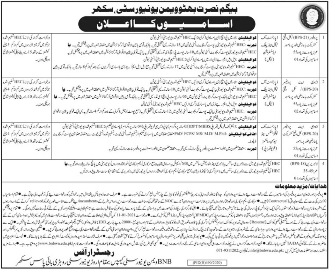Begum Nusrat Bhutto Women University BNBWU Sukkur Jobs December 2020