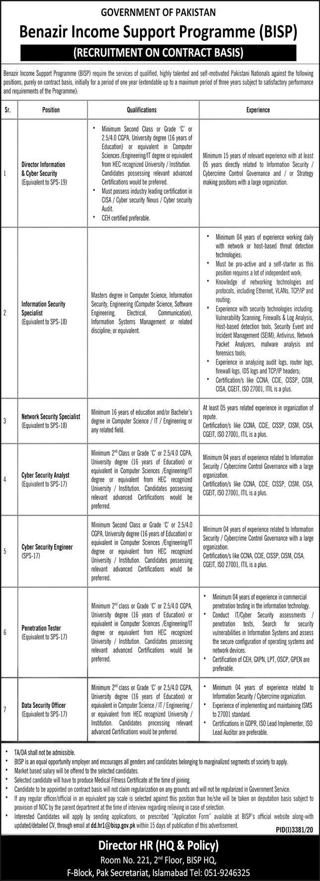 Benazir Income Support Programme BISP Jobs December 2020