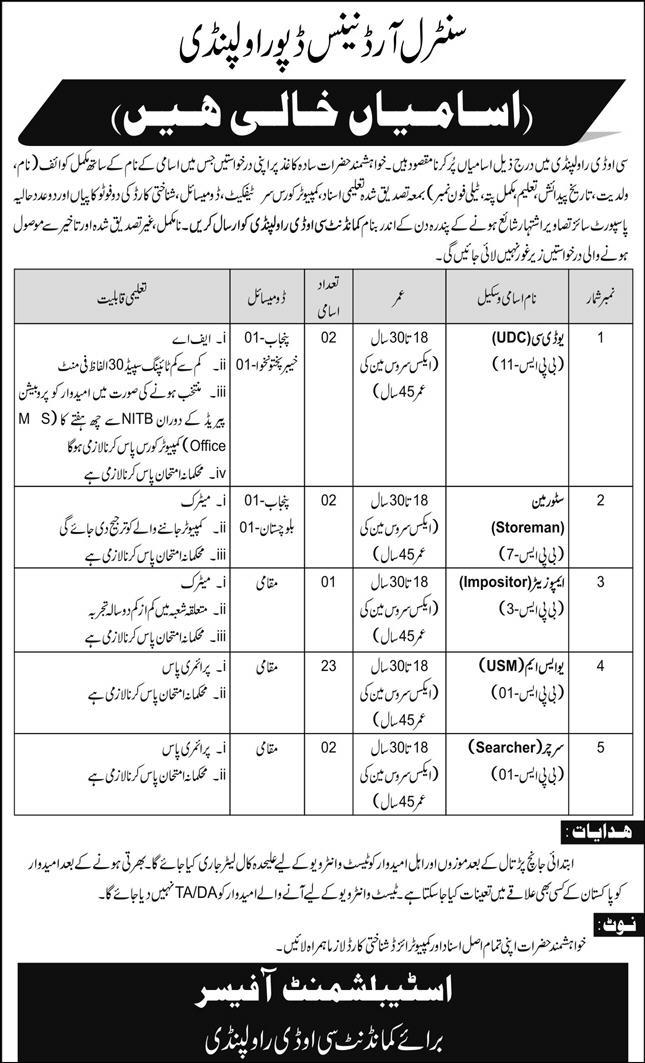 Central Ordnance Depot Rawalpindi Jobs December 2020