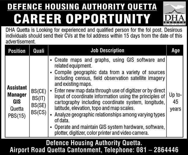 Defence Housing Authority DHA Quetta Jobs December 2020