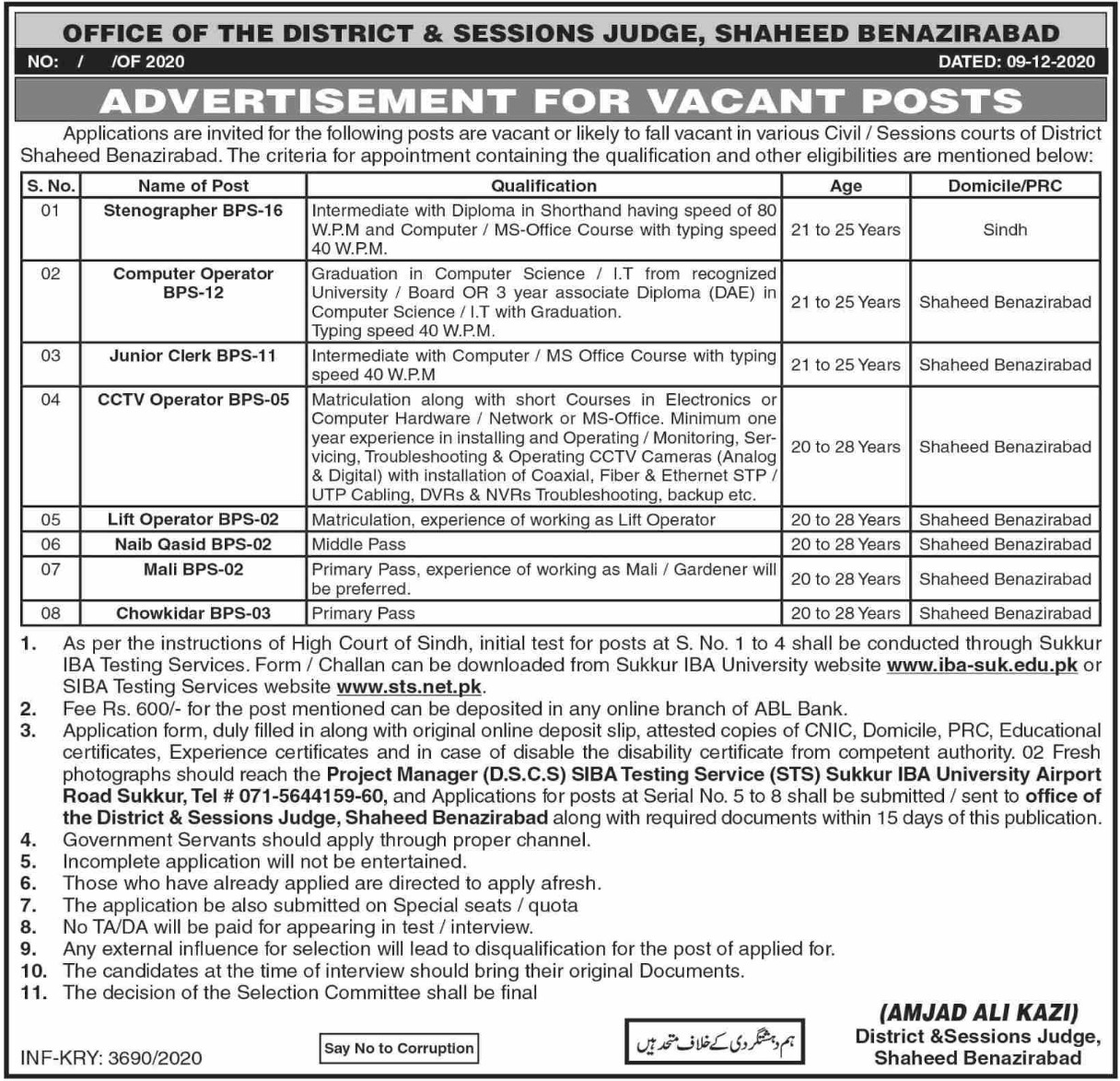 District & Session Court Shaheed Benazirabad Jobs December 2020
