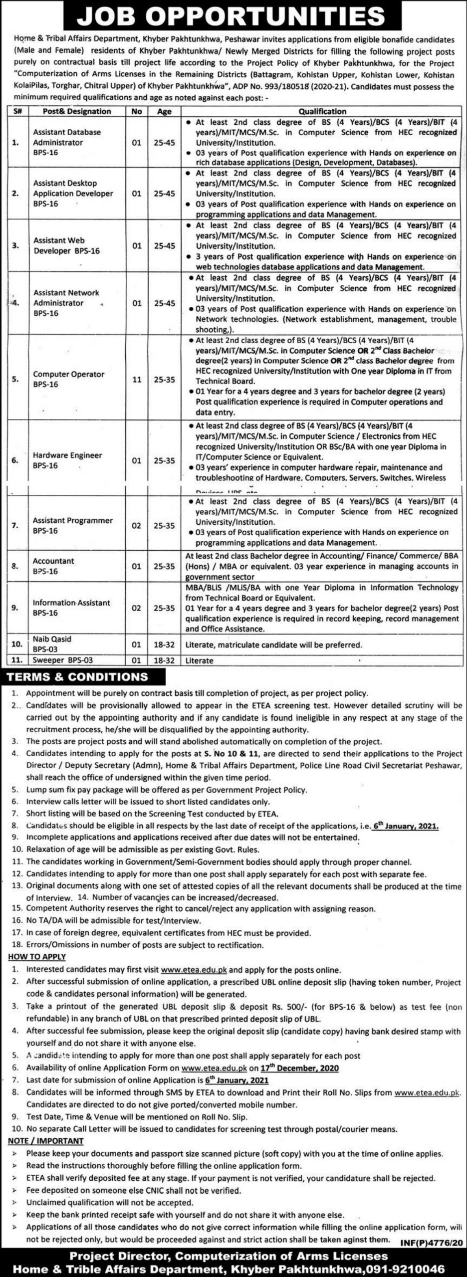 Home & Tribal Affairs Department Peshawar KPK ETEA Jobs December 2020