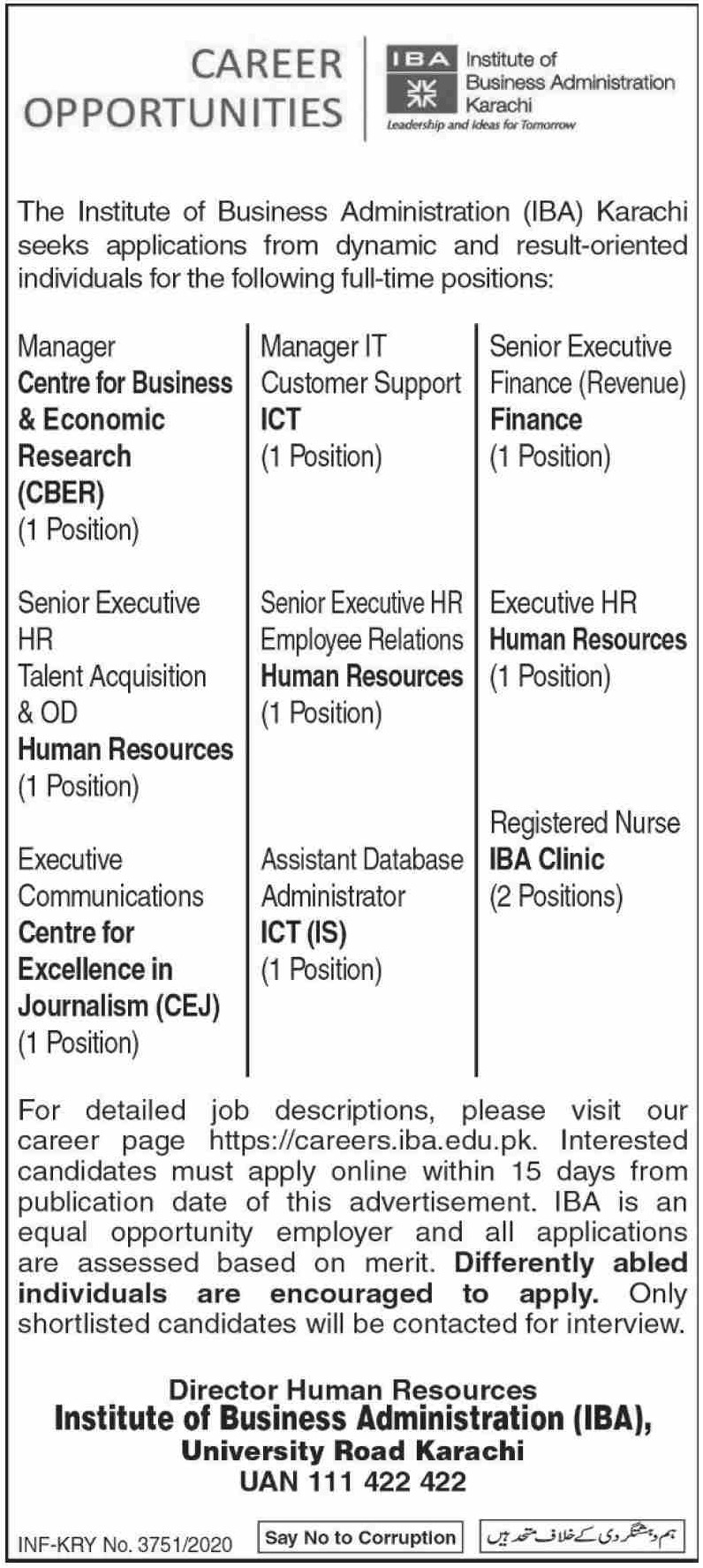 Institute of Business Administration IBA Karachi Jobs December 2020