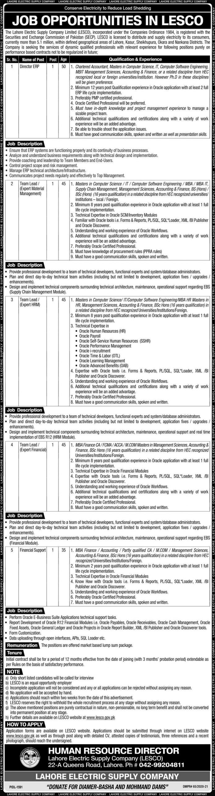 LESCO Wapda Jobs December 2020