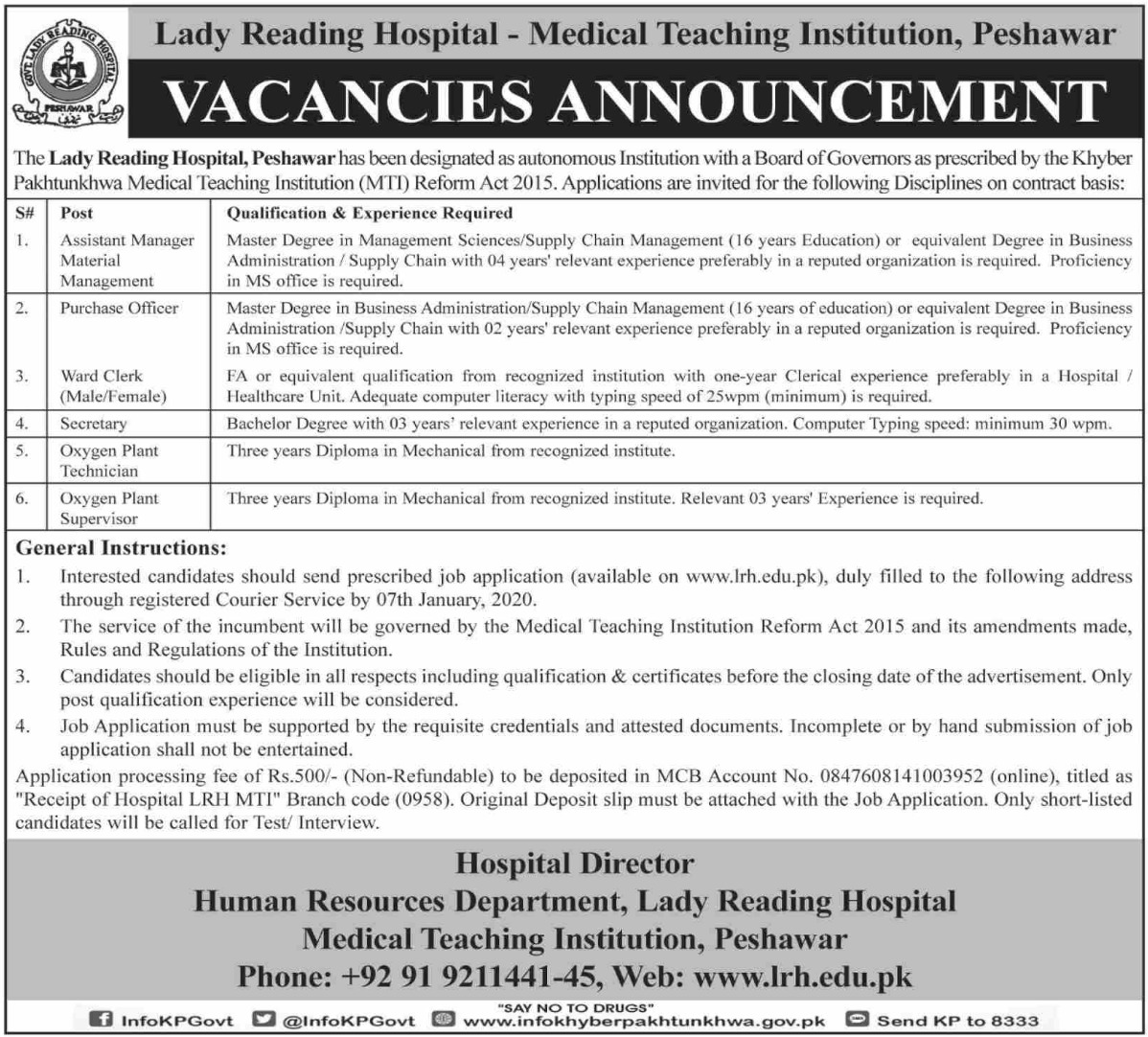 Lady Reading Hospital MTI Peshawar Jobs December 2020
