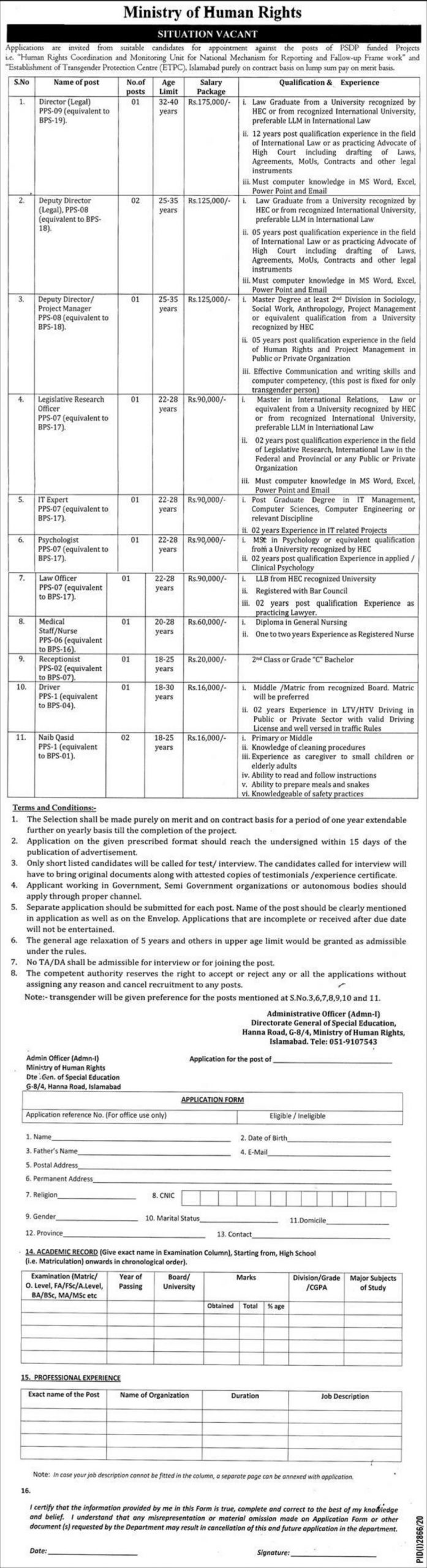 Ministry of Human Rights Jobs December 2020