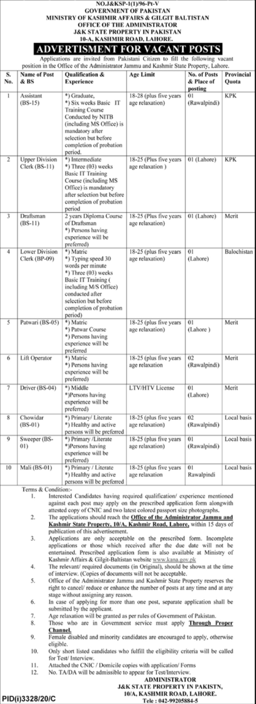 Ministry of Kashmir Affairs & Gilgit Baltistan Jobs December 2020