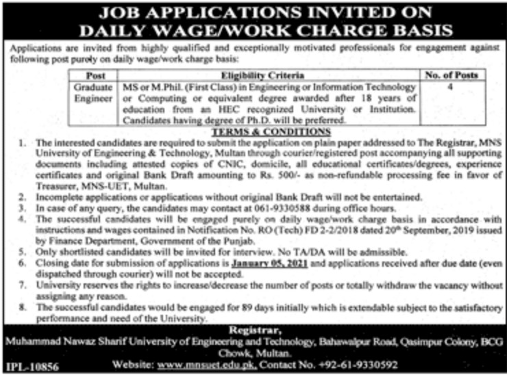 Muhammad Nawaz Sharif University of Engineering & Technology Multan Jobs December 2020