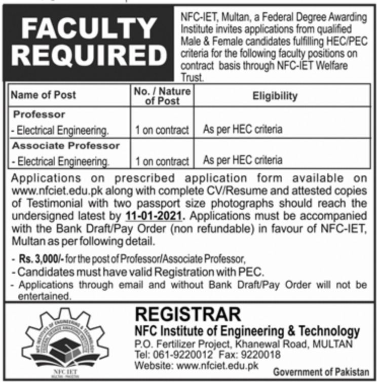NFC Institute of Engineering & Technology Multan Jobs December 2020