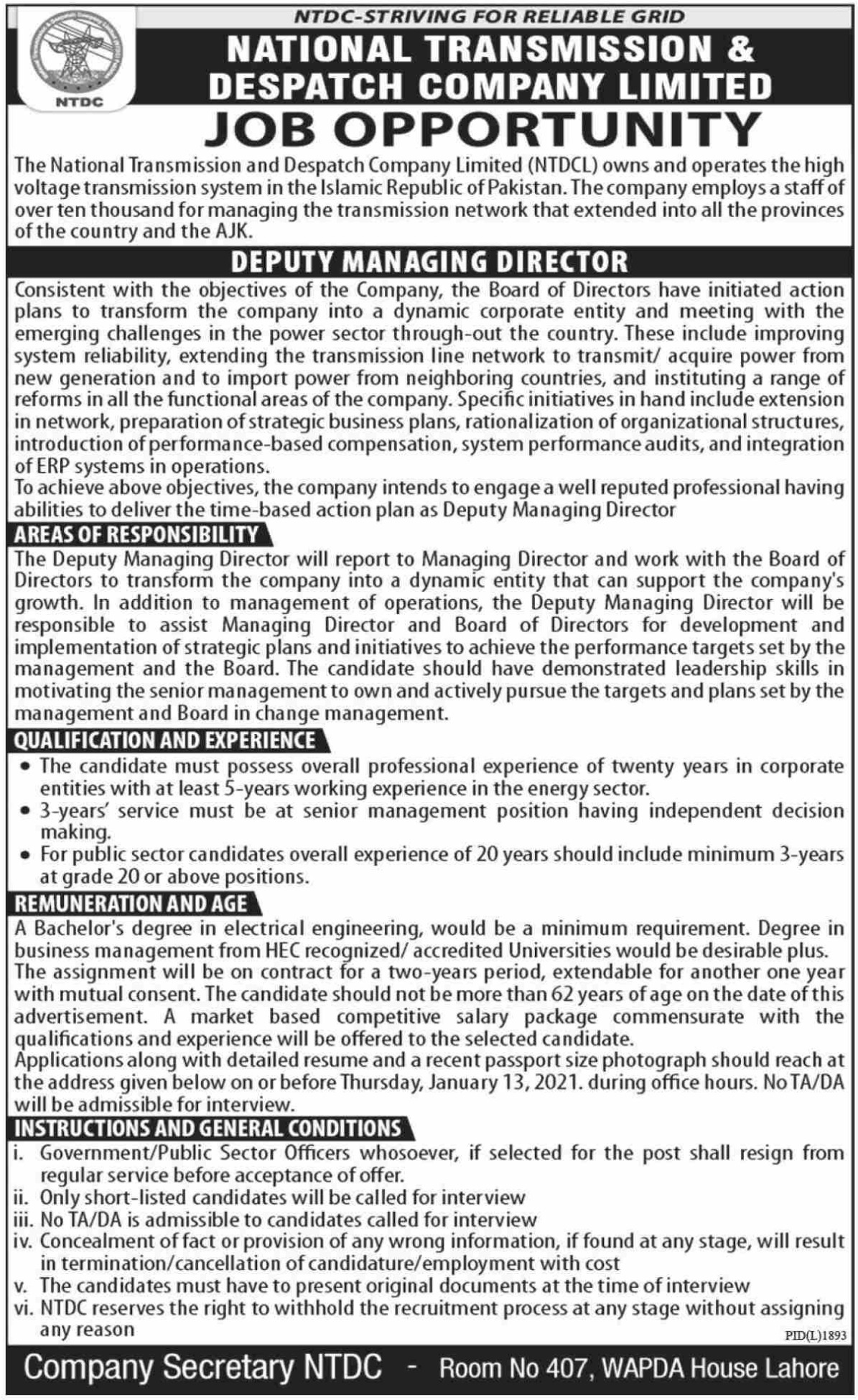NTDC Wapda Jobs December 2020