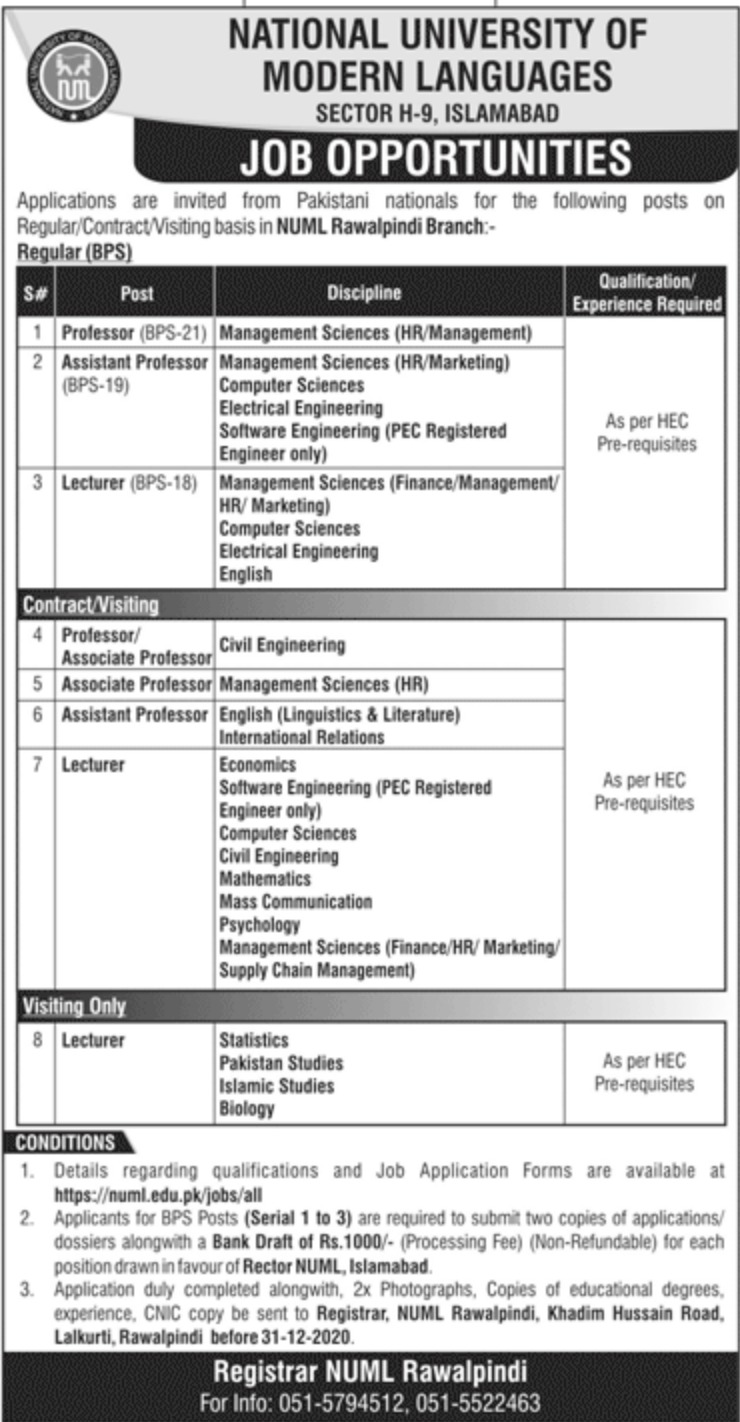 NUML Rawalpindi Jobs December 2020