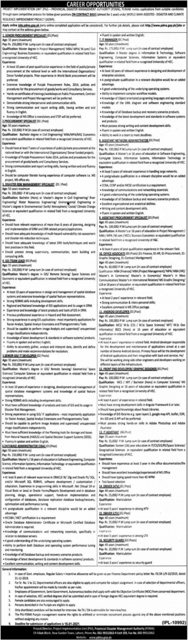 Provincial Disaster Management Authority PDMA Punjab Jobs December 2020