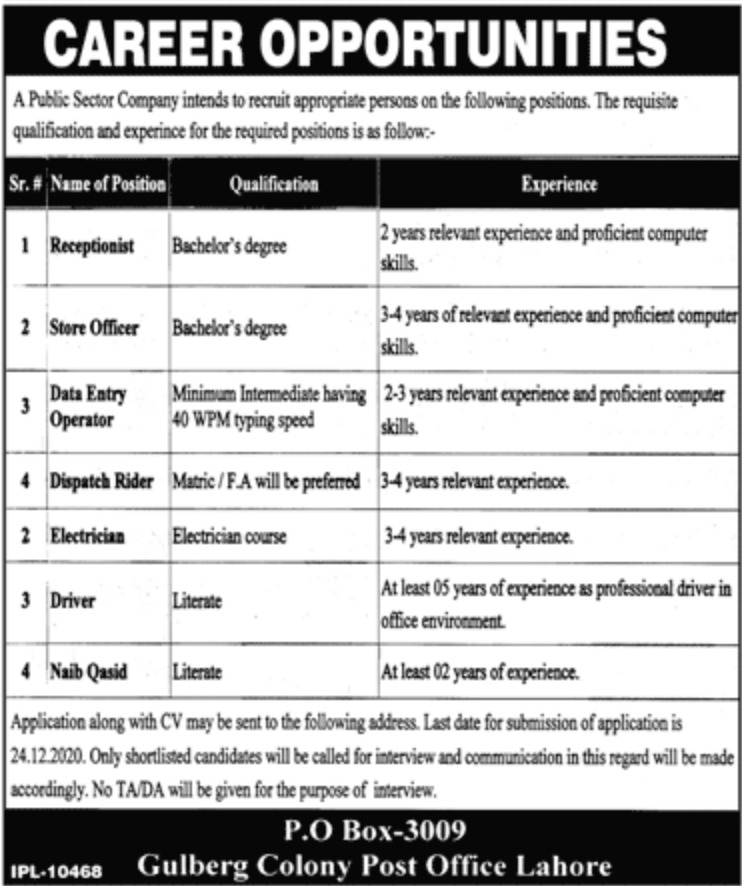 Public Sector Company P.O.Box 3009 Lahore Jobs December 2020