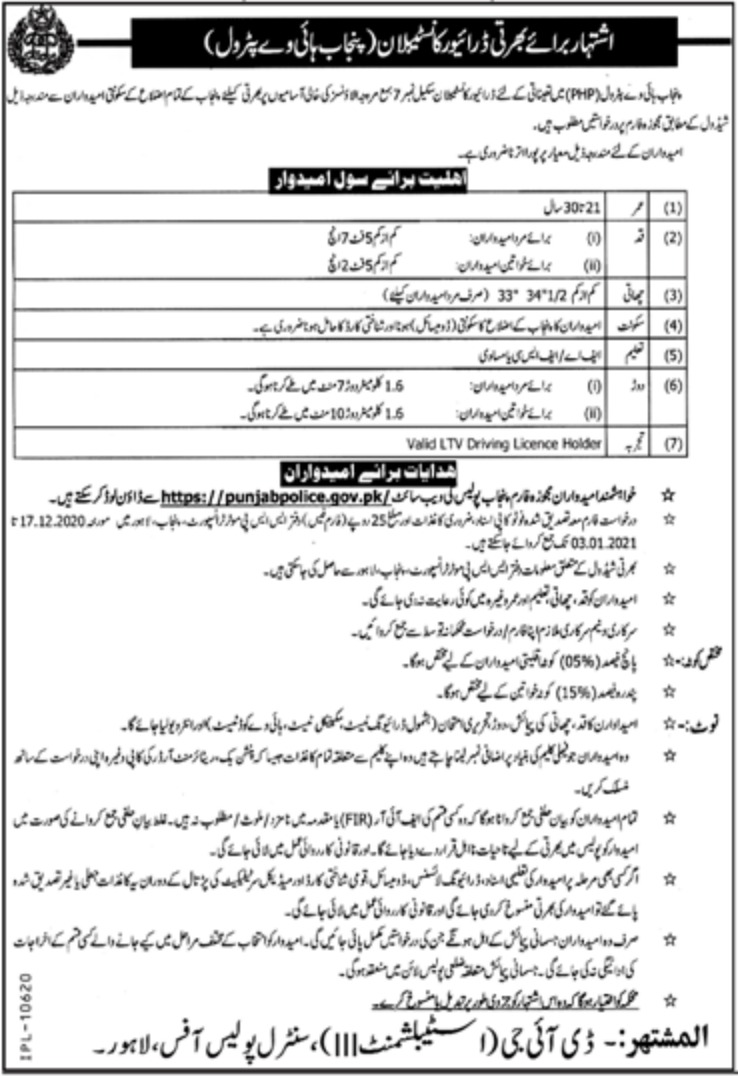 Punjab Highway Patrol Jobs December 2020 Punjab Police