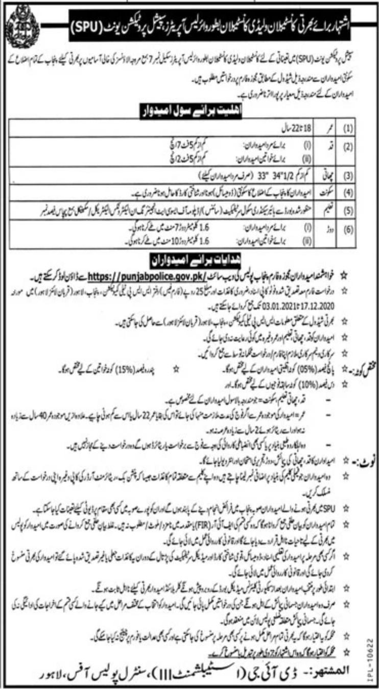Punjab Police SPU Wireless Operators Jobs December 2020