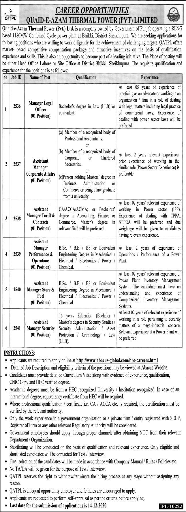 Quaid e Azam Thermal Power Pvt Ltd Jobs December 2020