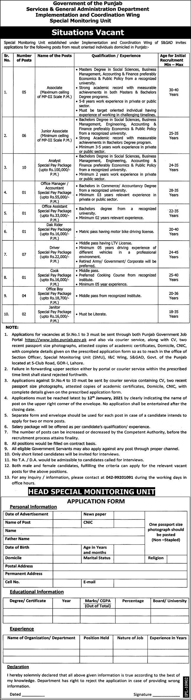 Services & General Administration Department S&GAD Punjab Jobs December 2020