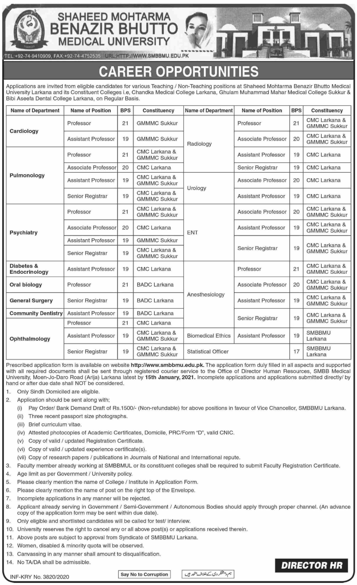 Shaheed Mohtarma Benazir Bhutto Medical University SMBBMU Larkana Jobs December 2020