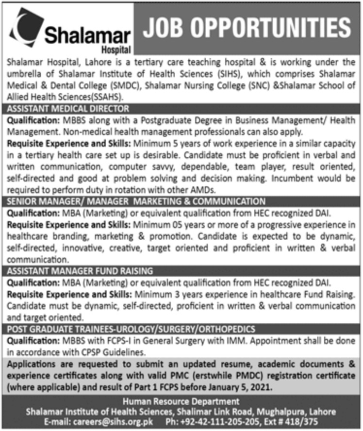 Shalamar Hospital Lahore Jobs December 2020