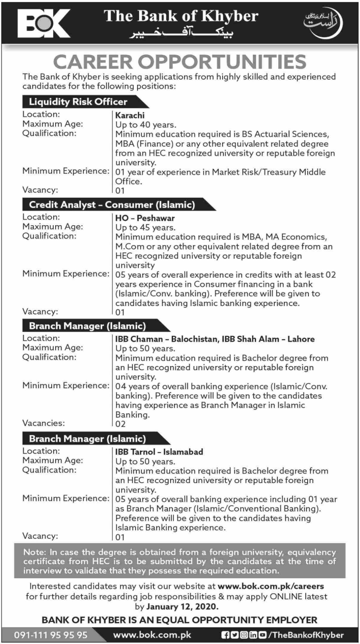 The Bank of Khyber BOK Jobs December 2020
