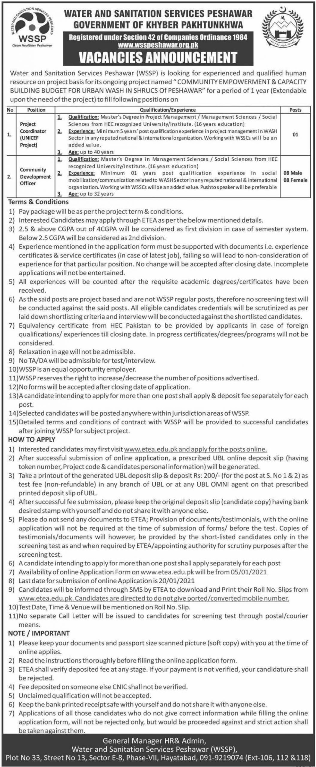 Water & Sanitation Services Peshawar WSSP ETEA Jobs December 2020