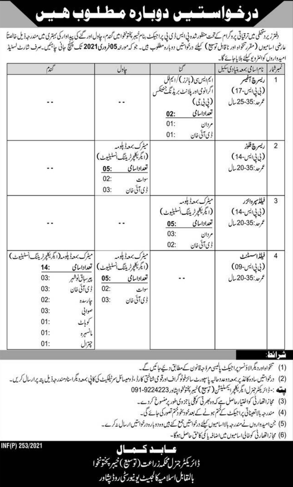 Agriculture Department Peshawar KPK Jobs January 2021