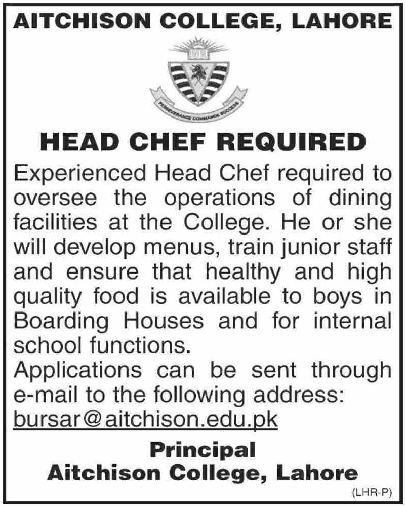 Aitchison College Lahore Jobs January 2021