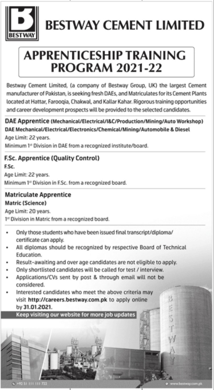 Bestway Cement Limited Jobs 2021-22