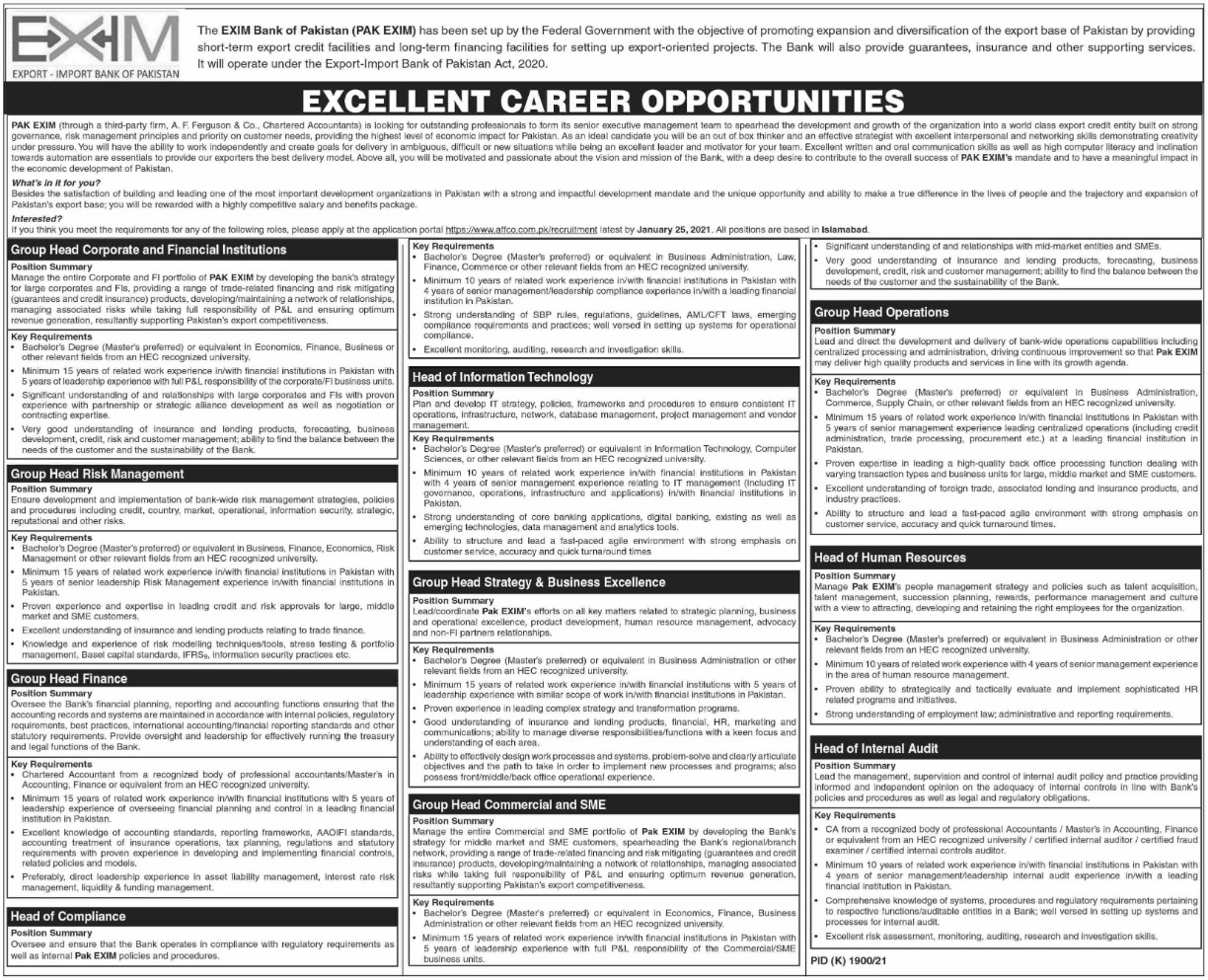 EXIM Bank of Pakistan PAK EXIM Jobs January 2021